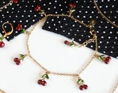 Vintage Joan Rivers Jewelry Set, Enameled Cherry Necklace with Matching Cherry Earrings and Gold Anklet, Pinup Accessories
