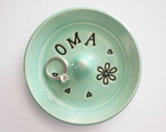 Celadon Green ring dish with Oma's name -  Ready to Ship  - Gift for Oma