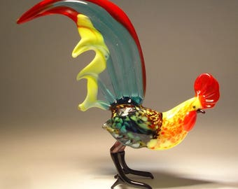Handmade  Blown Glass Figurine Art Bird Aqua and Yellow ROOSTER Figure