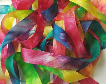 """Silk Ribbon, Hand Dyed Watercolour : Red Rainbow (woven, 100% silk, 13 mm/ 0.5"""" wide, 6 yards OR custom length)"""
