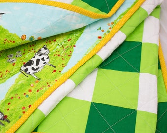 Baby Quilt - Green and Lime Gingham