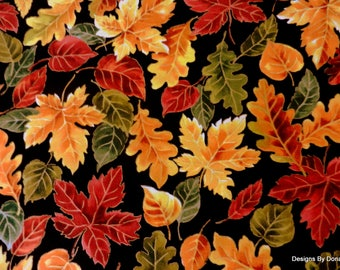 One Half Yard Cut Quilt Fabric, Colorful Fall Leaves with Gold Highlights on Black, Timeless Treasures, Sewing-Quilting-Craft-Supplies