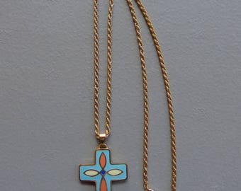 """Vintage Gently Used Colorful Enamel Cross Necklace Cross 1-1/2"""" x 1-1/8"""""""