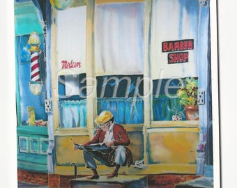 Man Barber Shop Painting Colorful Note Card and Envelope