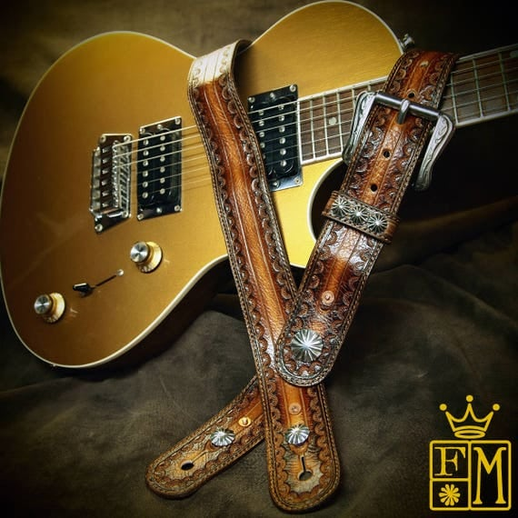 Leather Guitar Strap Brown tobacco Sunburst Soft and suede lined Cowboy Rockstar Vintage Style Handmade for YOU in NYC by Freddie Matara!