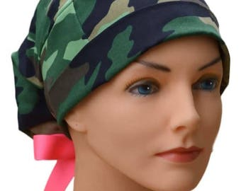 Scrub Hats // Scrub Caps // Scrub Hats for Women // The Hat Cottage // LARGE // Ribbon Ties // Camouflage