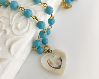 Mother Of Pearl Heart Pendant - Vintage inlay shell heart  - One of a Kind Blue Beaded Charm Necklace