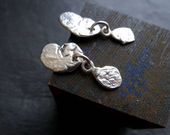 Recycled Sterling Silver Flake Dangle Stud Earrings