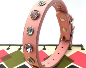 Pink Leather Dog Collar With Giant Rhinestones, Size S, to fit a 9-12in Neck, Small Dog, Eco Friendly Leather, Glam Girl, Feminine, OOAK