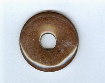 PI DAY SALE Brown Focal Pendant, 45mm Brown Jasper Gemstone Pi Donut Focal Pendant 1228T