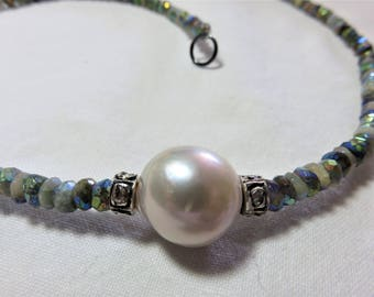 White Fresh Water Pearl, Mustic AB Yellow Opal Rondelle Beads, Oxidized Sterling Silver Diamonds and Oxidized Sterling Silver Necklace
