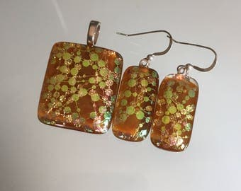 Pattern Handmade Fused Dichroic Art Glass Jewelry Matching Earrings Pendant Set FREE SHIPPING