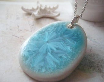 Diffuser Necklace, Essential Oils, Turquoise Blue, Sterling Silver, Extender Chain, Artisan Made, Frosted Glaze, Diffuser Pendant, candies64