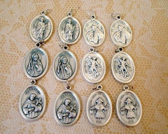 You Can Never Have Too Many Saints, 6 Pair of Silver Metal Patron Saint Pendant/Charms