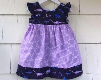 Paleontologist Dress | Flutter SleeveDress | Science Dress | Purple Dinosaur | Natural History | Dinosaur Birthday Party | Baby Gift | Toddl