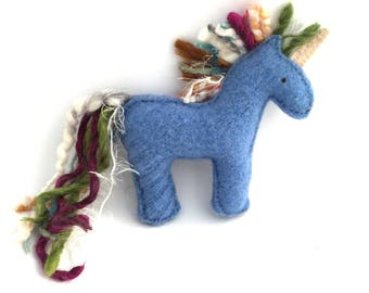 Crazy Mane Blue Unicorn - Recycled Wool Sweater Plush Toy