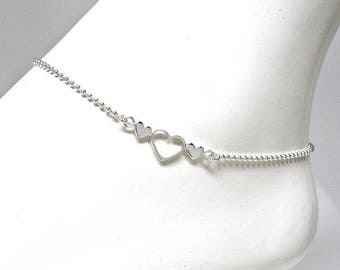 Welcome Summer Sale Anklet Sterling Silver Bead Chain with 3 Hearts Adjustable from 9 to 10 Inches via extender chain 1.2mm Style no. 289