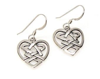 SALE Earrings Celtic Knot Irish Heart Sterling Silver Ear Wires no. 3569