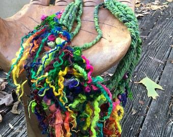 Handspun Art Yarn-Secret Garden- Signature Jazztutle TextureSpun Artisan Yarn