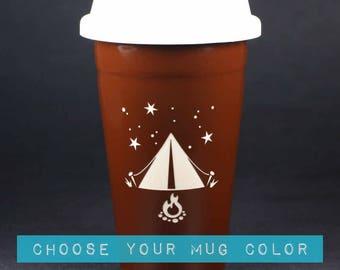 Tent Camping Travel Mug w/ lid