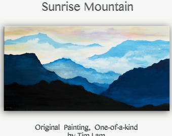 Sale Original art Abstract Painting large Oil Painting, Dawn mountain skyline Landscape Painting Rising Sun by tim lam 48x24x1.4