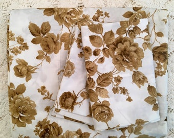 Brown Roses on White Full Flat with Pillowcases - Vintage Monticello - 1970s Bedding - No-Iron Percale