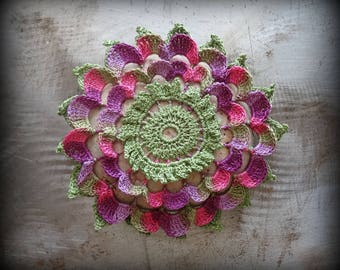 Flower Stone, Crocheted Lace, Original, Purple, Pink, Green, Handmade, Home Decor, Unique, Collectible, Monicaj