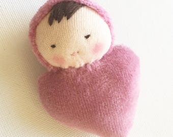 pink doll // Waldorf Pocket doll // Valentine for kids // rag doll // heart shaped // baby doll // Waldorf toy // stuffed toy
