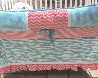 Baby Crib Bedding Coral and Blue, children bedding, nursery bedding, coral and blue baby bedding, girl bedding