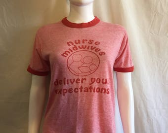 70s 80s nurse midwives deliver your expectations t shirt tee ringor