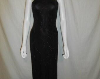 Vintage 90s  black floral glitter long  dress, stretchy, long dress, grunge, club kid, fitted