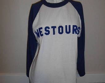 Closing Shop 40%off SALE Vintage 70's  80's  WESTOURS  T-shirt top baseball   blue white  fuzzy letters