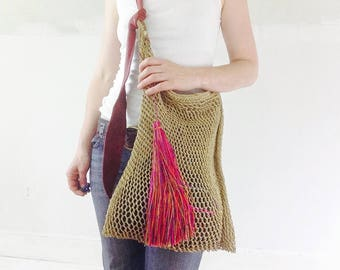 Large Agave Woven Bag With Leather Strap And Tassel! Hand-spun & Woven. Chiapas, Mexico