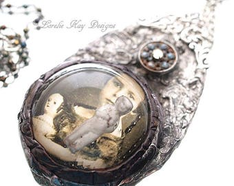 A Girl and Her Doll Soldered Resin Dome Necklace Frozen Charlotte Cast Resin Statement Necklace Pendant Lorelie Kay Original