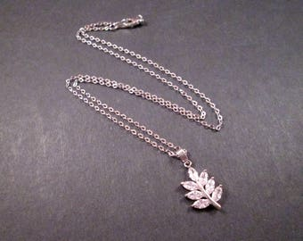 Cubic Zirconia Necklace, Fern Leaf Pendant Necklace, Silver Chain Necklace, FREE Shipping U.S.