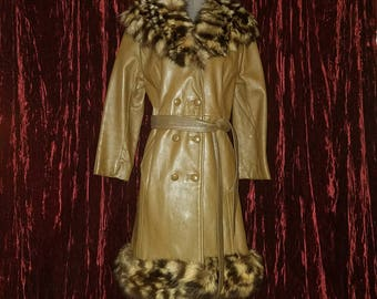 Vintage 1960's Ladies Brown Leather Coat, Fur Trim, Small Medium, Mid Century Fashion