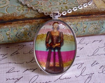 Antique Santos Cage Doll #3, original art pendants, illustration pendants, gift boxed, only 5 pendants made of each design, cage dolls