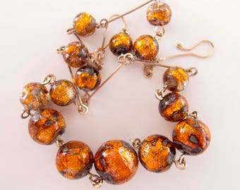 Vintage Antique Classic Bohemian 1920s to 1930s Fire Foil Drizzle Handmade Glass Necklace with Handmade Gold Plated Links