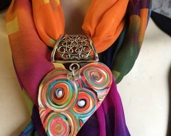 """Scarf jewelry pendant """"heart"""" - new collection"""
