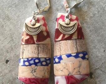 polymer clay earrings pair - wood -  new