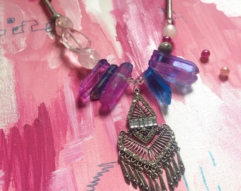 Adaline Necklace Pink and Blue Mixed Media Crystal and Stone Statement Necklace