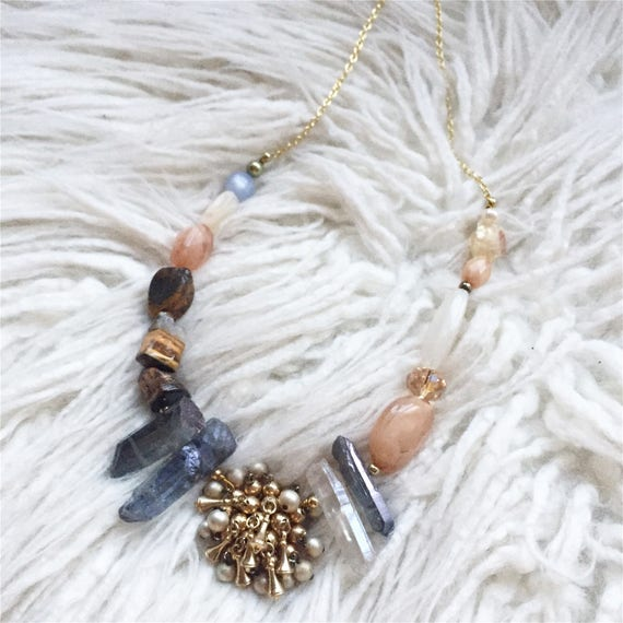 Verle Necklace Vintage Mixed Media Crystal and Stone Statement Necklace