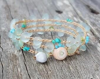 Bracelet Wrap, Stacking Bracelet, Aqua Glass Bracelet, Crocheted Bracelet Wrap, Beachy Bracelet Wrap, Beach Jewelry, Beach Boho Bracelet