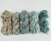 Seashore Handspun Art Yarn Pack 5 mini skeins aqua blue tan brown