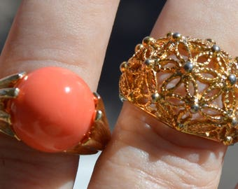 2, 70's Rings,Coral Orange Ball Adjustable Ring 6.5 to 8,Floral Filigree Dome Ring size 8.5,Both Signed Avon,Good Condition