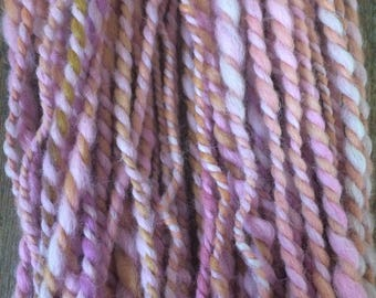 Crazy Little Thing Called Love, handspun art yarn, 50 yards, chubby two ply yarn, llama, wool and mohair blend, pretty pastels