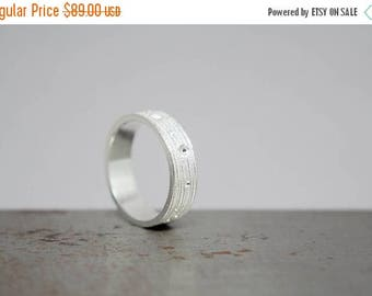 ON SALE Size 6.5 Textured Silver Womens Ring Band, Ready to Ship