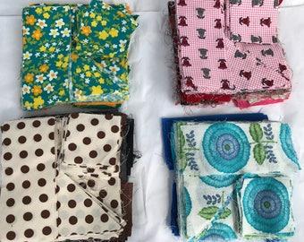 Vintage Quilt Quilting Cotton Fabric Precut Blocks Squares Triangles Rectangles