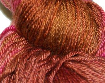 Cinnamon Rose in Hand Dyed Poet Seat Fingering Weight Superwash Merino and Silk Yarn