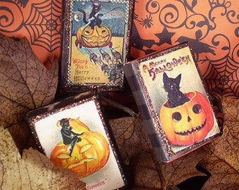 Halloween decoration vintage style old fashioned trick or treat candy container matchbox party favor black cat devil jack lantern